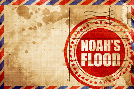 airmail: noahs flood, red grunge stamp on an airmail background Stock Photo