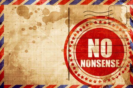 nonsense: no nonsense, red grunge stamp on an airmail background