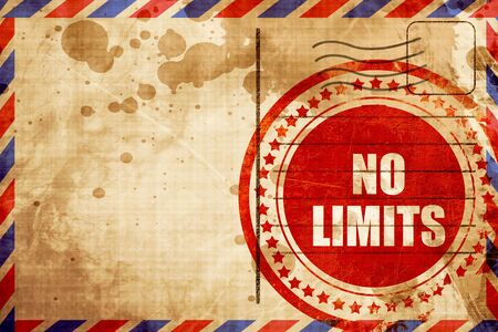 quickness: no limits, red grunge stamp on an airmail background