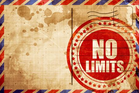 no limits: no limits, red grunge stamp on an airmail background