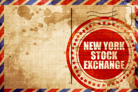 new york stock exchange: new york stock exchange, red grunge stamp on an airmail background