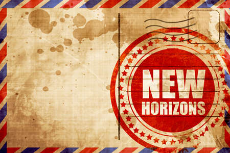 new horizons: new horizons, red grunge stamp on an airmail background Stock Photo