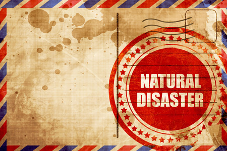 natural disaster, red grunge stamp on an airmail background