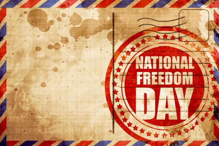 airmail: national freedom day, red grunge stamp on an airmail background Stock Photo