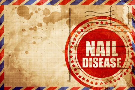 fungal disease: nail disease, red grunge stamp on an airmail background Stock Photo