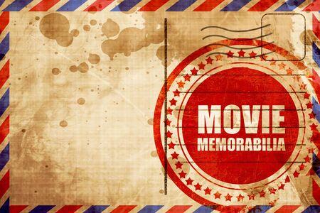 memorabilia: movie memorabilia, red grunge stamp on an airmail background