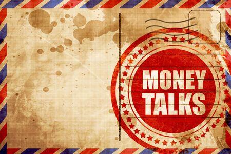 conversaciones: el dinero habla, grunge sello rojo sobre un fondo de correo aéreo