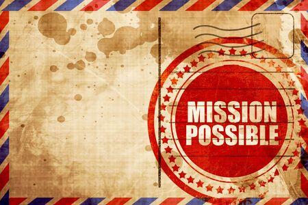 misja możliwa, czerwony znaczek grunge na tle poczty lotniczej Zdjęcie Seryjne