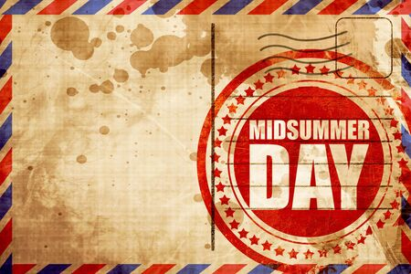 midsummer: midsummer day, red grunge stamp on an airmail background