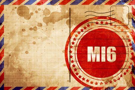 mi6 secret service, red grunge stamp on an airmail background Stock Photo