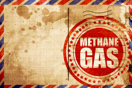 methane: methane gas, red grunge stamp on an airmail background Stock Photo
