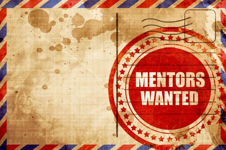 mentors: mentors wanted, red grunge stamp on an airmail background Stock Photo