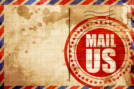 mail us: mail us, red grunge stamp on an airmail background Stock Photo