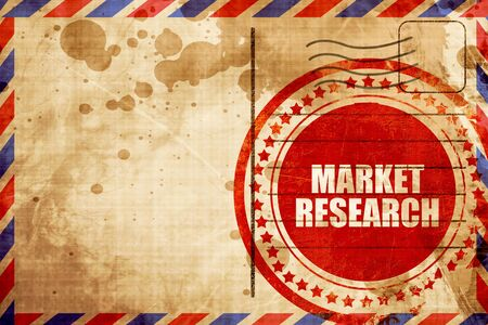 airmail: market research, red grunge stamp on an airmail background Stock Photo