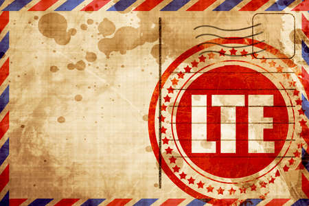 lte: lte, red grunge stamp on an airmail background