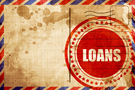 loans: loans, red grunge stamp on an airmail background