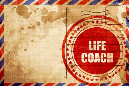 life coach, red grunge stamp on an airmail background