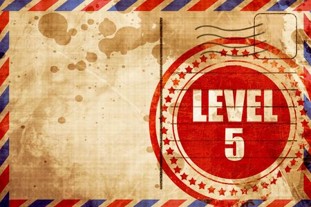 xp: level 5, red grunge stamp on an airmail background