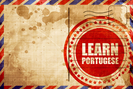 portugese: learn portugese, red grunge stamp on an airmail background