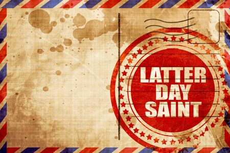 latter: latter day saint, red grunge stamp on an airmail background Stock Photo