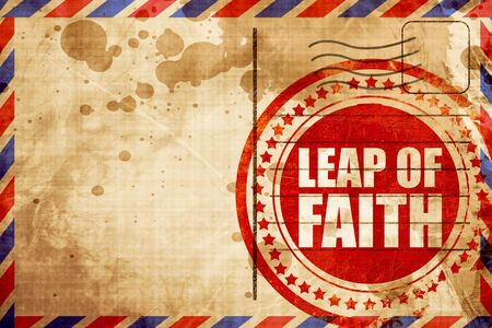 confined space: leap of faith, red grunge stamp on an airmail background