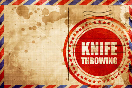 throwing knife: knife throwing, red grunge stamp on an airmail background