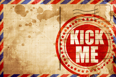 mail me: kick me, red grunge stamp on an airmail background Stock Photo
