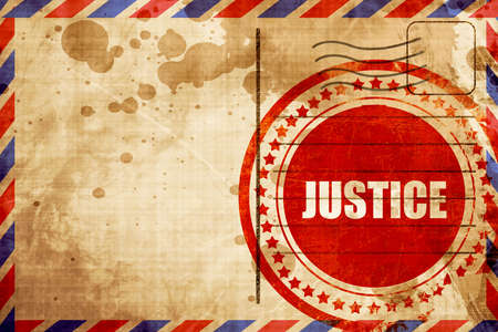 trial balance: justice, red grunge stamp on an airmail background