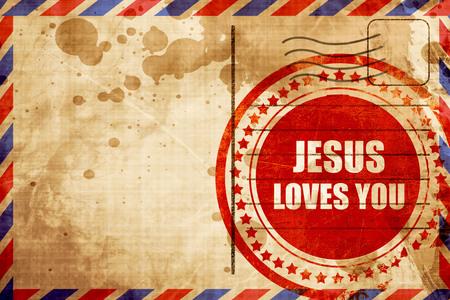 Gesù ti ama, rosso grunge timbro su uno sfondo di posta aerea Archivio Fotografico