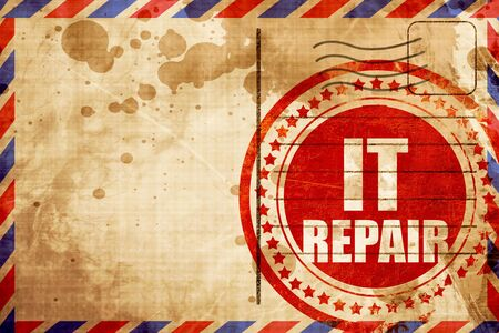 airmail: it repair, red grunge stamp on an airmail background