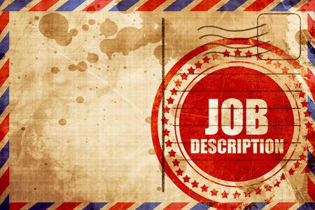 airmail: job description, red grunge stamp on an airmail background