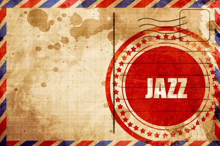 airmail stamp: jazz music, red grunge stamp on an airmail background