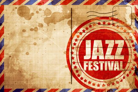 airmail: jazz festival, red grunge stamp on an airmail background Stock Photo
