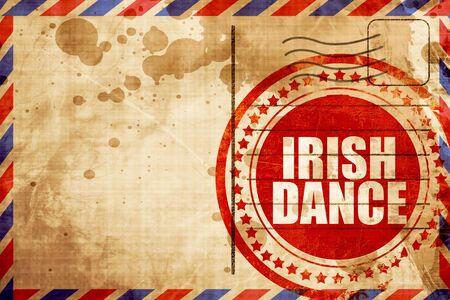 triskel: irish dance, red grunge stamp on an airmail background