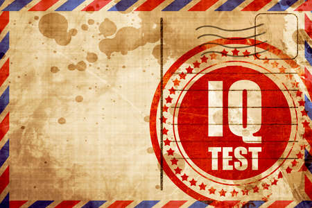 iq: iq test, red grunge stamp on an airmail background
