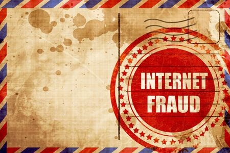 internet fraud: Internet fraud background with some smooth lines, red grunge stamp on an airmail background
