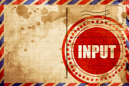 input: input, red grunge stamp on an airmail background Stock Photo