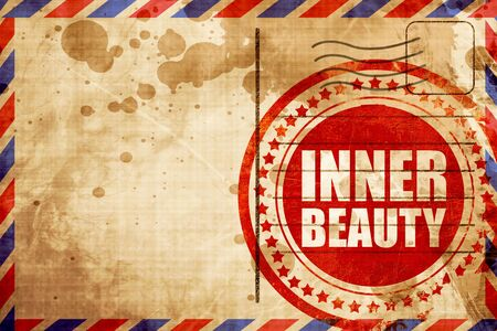inner beauty: inner beauty, red grunge stamp on an airmail background