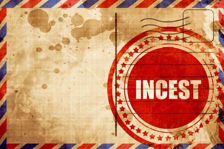 incest: incest, red grunge stamp on an airmail background Stock Photo
