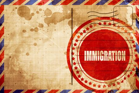 naturalization: immigration, red grunge stamp on an airmail background