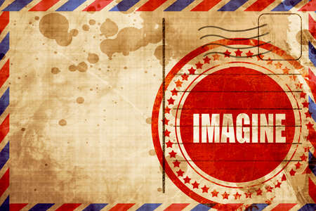 envision: imagine, red grunge stamp on an airmail background Stock Photo