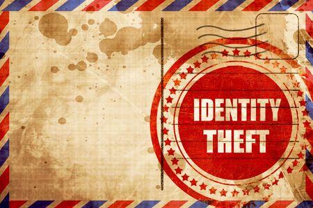 De achtergrond van de identiteitsfraude met sommige vlotte lijnen, rode grungezegel op een luchtpostachtergrond Stockfoto