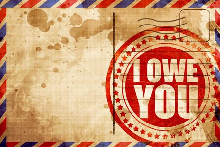 i owe you, red grunge stamp on an airmail background Banco de Imagens