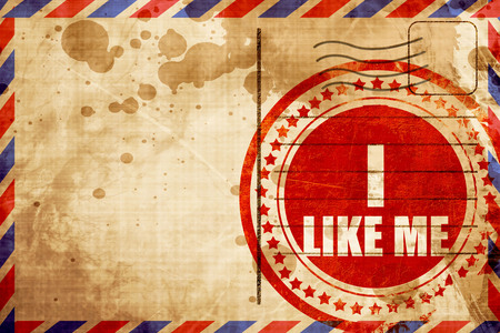 free vote: i like me, red grunge stamp on an airmail background