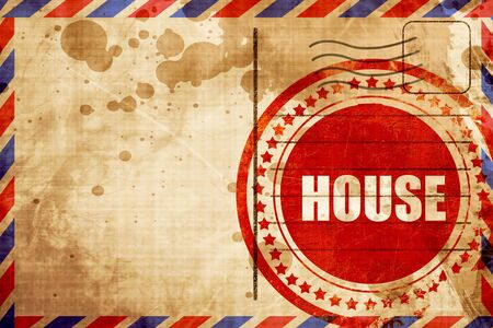 airmail stamp: house music, red grunge stamp on an airmail background