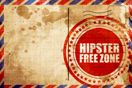 restaurateur: hipster free zone, red grunge stamp on an airmail background