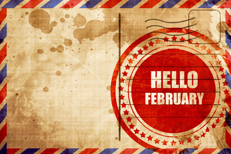 hello heart: hello february, red grunge stamp on an airmail background