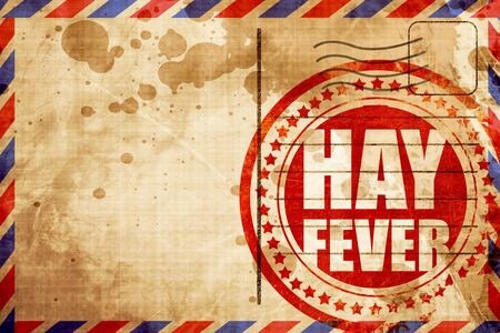 hayfever: hayfever, red grunge stamp on an airmail background Stock Photo
