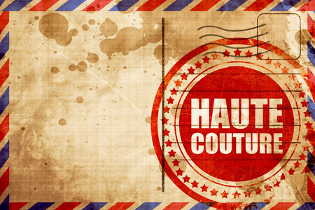 couture: haute couture, red grunge stamp on an airmail background Stock Photo