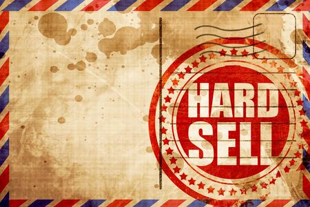 selling service: hard sell, red grunge stamp on an airmail background Stock Photo